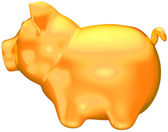 Golden piggy bank side view isolated — Stock Photo