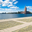 Stockholm city hall and quayside — Stock Photo
