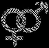Diamond male and female gender symbols — Stockfoto