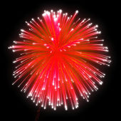 Red festive fireworks at night — Foto de Stock