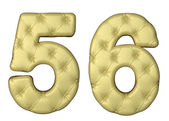 Luxury beige leather font 5 6 numerals — Stock Photo