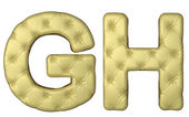 Luxury beige leather font G H letters — Stock Photo
