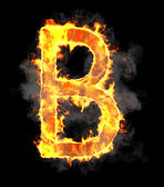 Burning and flame font B letter — Stock Photo