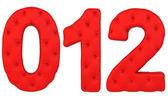 Izole kırmızı lüks deri yazı tipi 0 1 2 sayılar — Stok fotoğraf