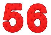 Numerais de fonte 5 6 de couro de luxo vermelho — Fotografia Stock