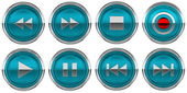 Round Blue Control icons set isolated — Stock Photo