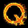 Burning and flame font Q letter — Stock Photo