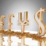 se centran en el euro. signos de moneda de oro — Foto de Stock