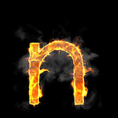 Burning and flame font N letter — Stock Photo