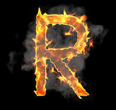 Burning and flame font R letter — Stock Photo