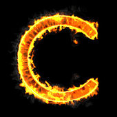 Burning and flame font C letter — Stock Photo