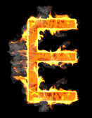 Burning and flame font E letter — Stock Photo