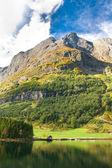 Norwegian Fjord: Mountains, village house — Stock Photo