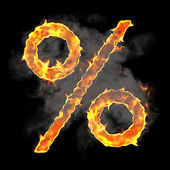 Burning and flame font percent symbol — Stock Photo