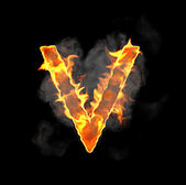 Burning and flame font V letter — Stock Photo