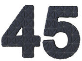 Stitched leather font 4 5 numerals — Stock Photo