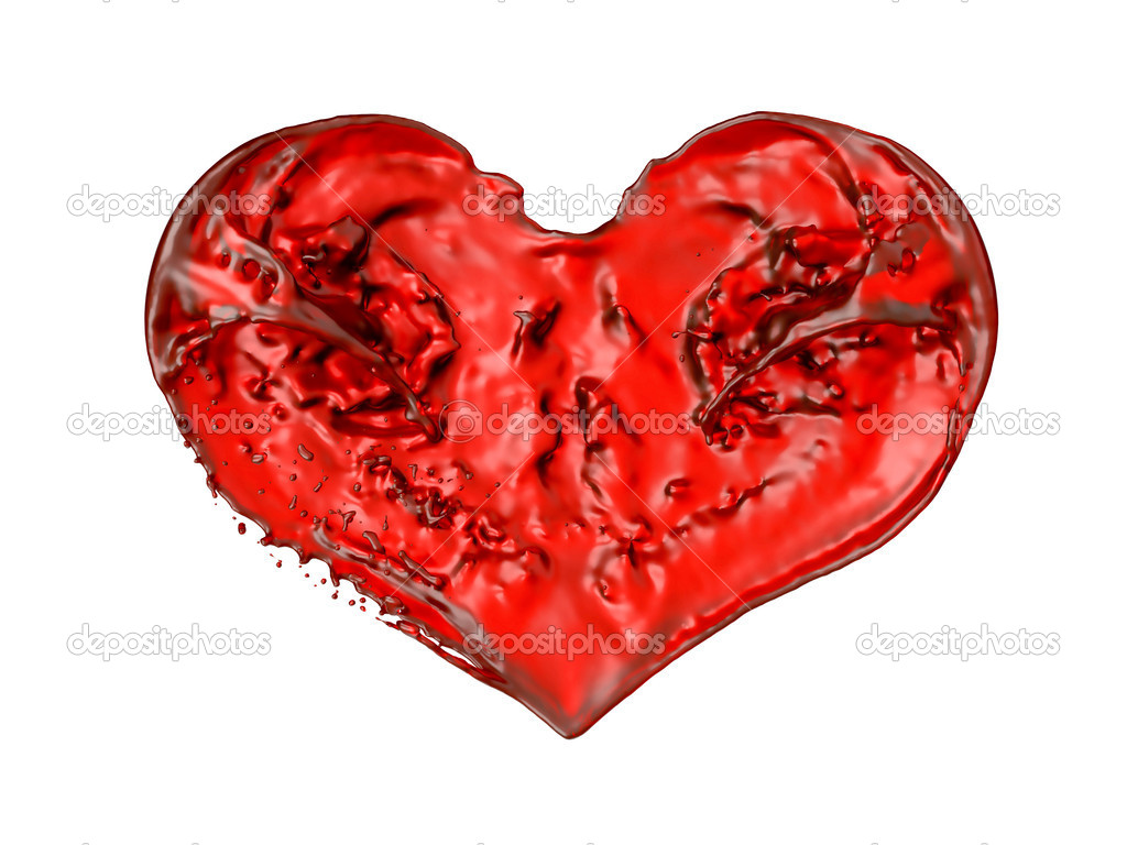 Romance and Love: Red liquid heart shape. Isolated Over white background — Stock Photo #5187481