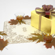 Royalty-Free Stock Photo: Golden gift box with candles