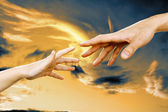 Hands against the sky — Stock Photo