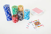 Cards and poker chips — Stock Photo