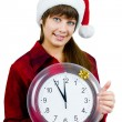 Stock Photo: Santa girl with the clock