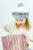 Girl wearing a winter cap. Winter Shopping — Stockfoto