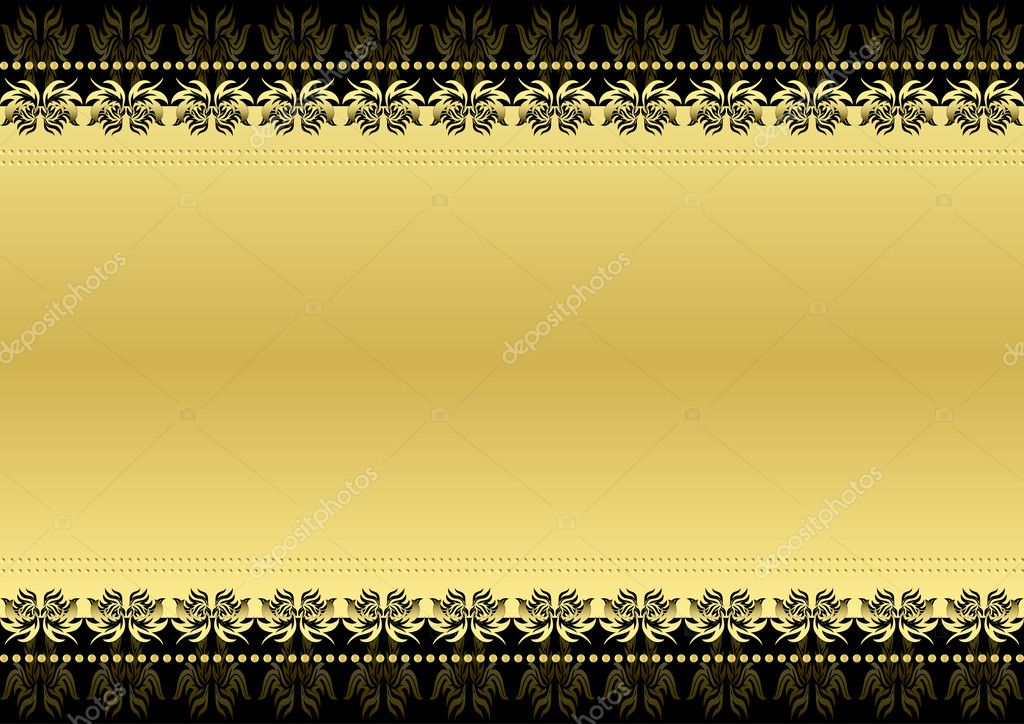 Frame for text. Black and gold. Vector background — Stock Vector #5036963