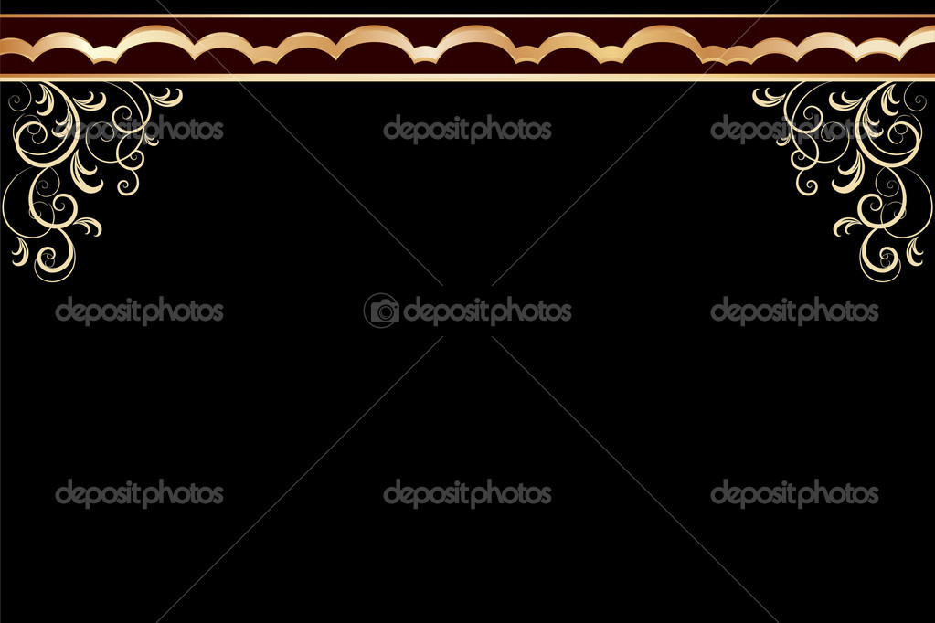 Vector black frame with golden floral pattern ornate — Stock Vector #5036995