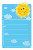 Label with a picture of sun and clouds — Stock Vector
