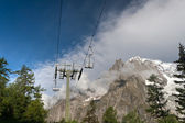 Chair lift and Mont Blanc — Stock Photo