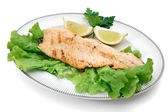 Trout fillet with lettuce — Stock Photo