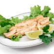 Trout fillet with lettuce and lemon — Stock Photo