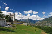 Aosta valley with Castle, Italy — Stock Photo