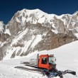 Stock Photo: Snowcat and mont Blanc