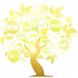 Tree of a gold luminescence - Stock Photo