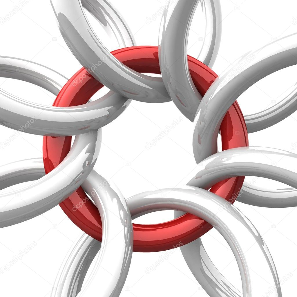 Volumetric red gloss ring bonded with steel ring — Stock Photo #4283917