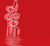 Banner of the drawn poppies — Stock Photo