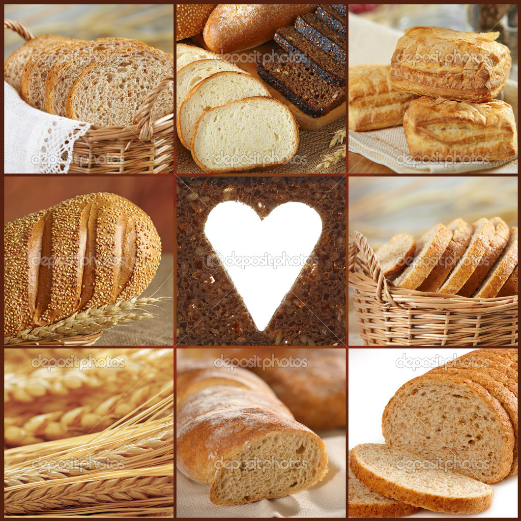 Collage of bread images — Stock Photo #4093327
