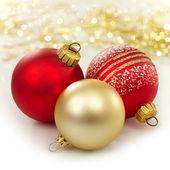 Three christmas baubles — Stock Photo