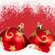 Two red christmas baubles — Stock Photo
