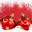 Stock Photo: Two red christmas baubles