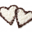 Two chocolate hearts — Stock Photo