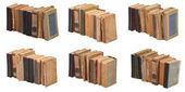 SIx stacked old books of different shape and color — Stock Photo