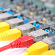 Stock Photo: RJ45 network plugs red and yellow