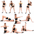 Ten poses. Fitness Girl on white background — Stock Photo