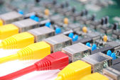 RJ45 network plugs red and yellow — Stock Photo