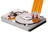 Open hard disk drive studio isolated — Stock Photo