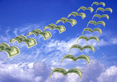 Flock of dollar fly away — Stock Photo
