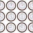 Stock Photo: Timezone clock. Clocks showing time around world.
