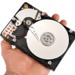 Hand with a open hard disk drive - Stock Photo